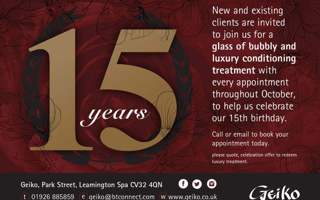Celebrating 15 Years this October